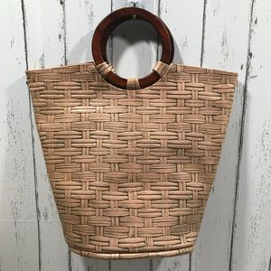 NWOT leather thatched look handle top tote.